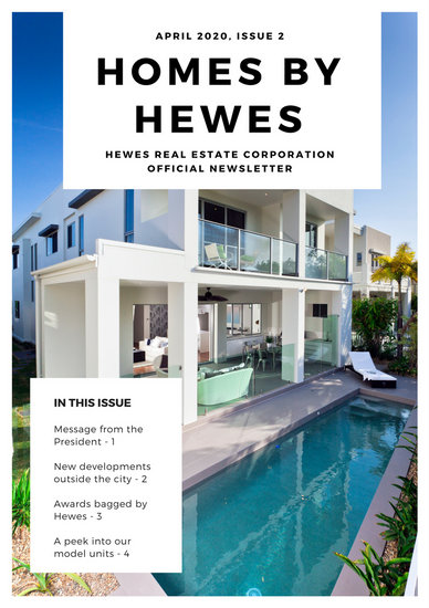 Blue And White Modern Real Estate Newsletter  Templates By Canva