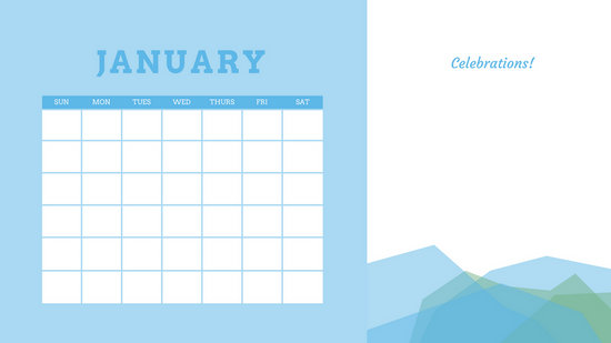Blue And Purple Simple Mountains Birthday Calendar Templates By Canva
