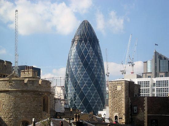 Building, The Gherkin, London, Gherkin, Tower, English