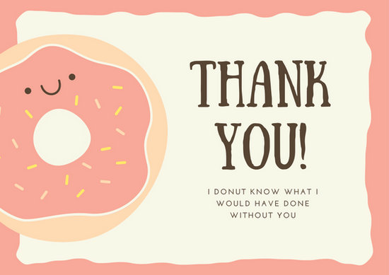 Pink Donut Dessert Thank You Postcard  Templates By Canva