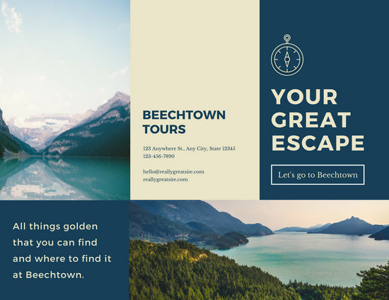 navy blue and beige nature travel trifold brochure
