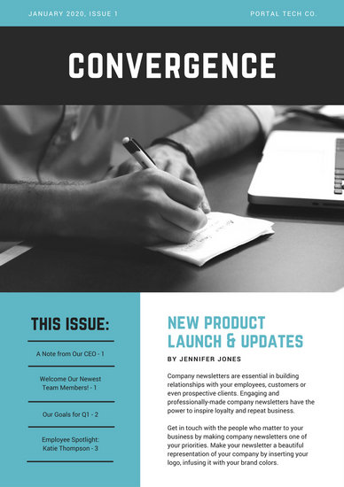 Blue Modern Technology Company Newsletter  Templates By Canva