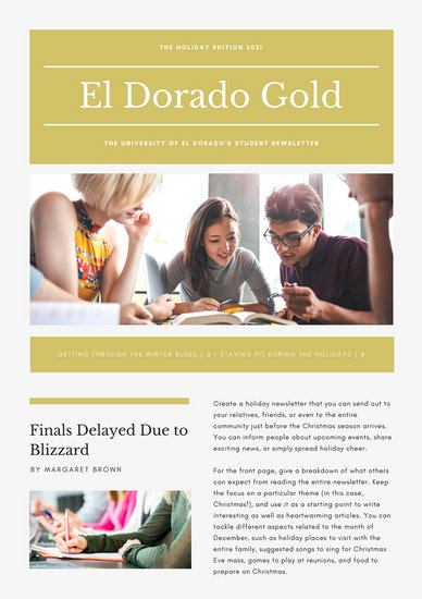 Gold Elegant University Holiday Newsletter  Templates By Canva