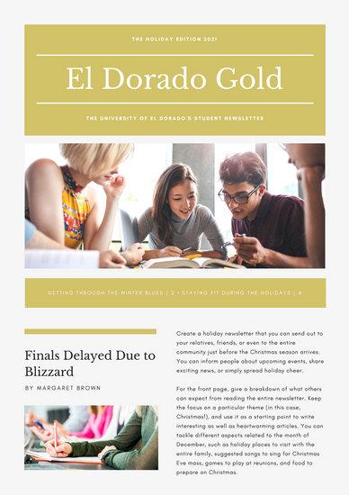 Gold Elegant University Holiday Newsletter  Templates By Canva
