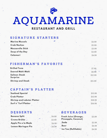 Blue and White Fish Icon Seafood Food and Drink Menu