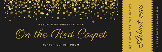 Gold And Black Red Carpet Prom Ticket Templates By Canva