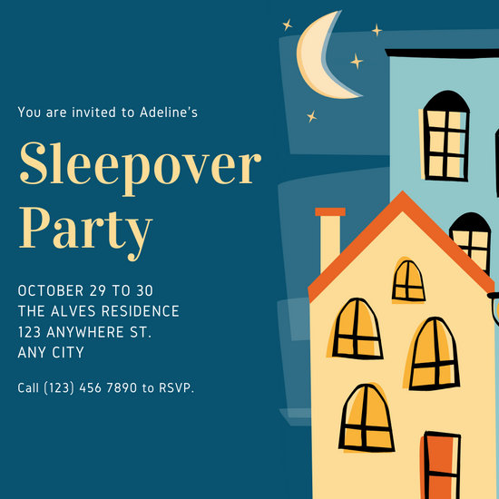 Dark Blue Houses Illustration Sleepover Invitation