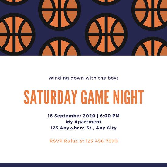 Blue and Orange Basketball Pattern Game Night Invitation