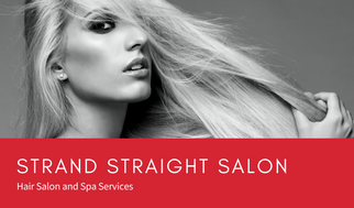 Red with Grayscale Photo Hair Salon Business Card