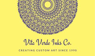 Yellow Mandala Tattoo Artist Business Card
