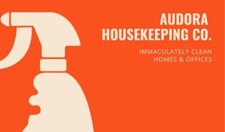 Orange Spray Housekeeper Business Card