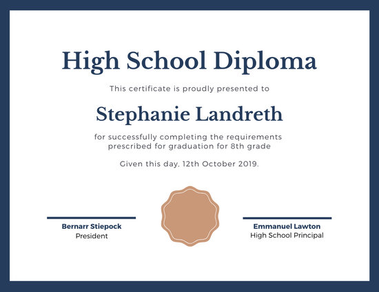 Blue and Brown Bordered High School Diploma Certificate