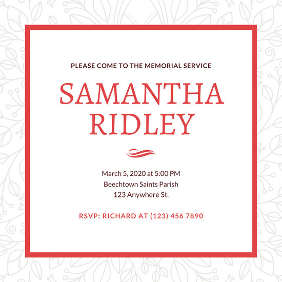 Gray and Red Floral Memorial Invitation