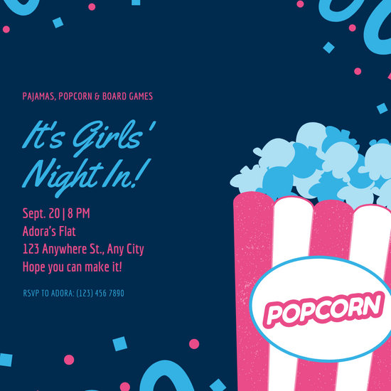 Blue and Pink Popcorn Sleepover Invitation