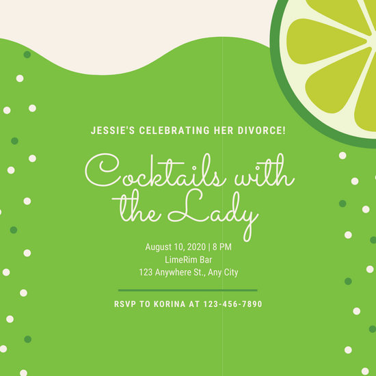 Green Cocktail Divorced Party Invitation