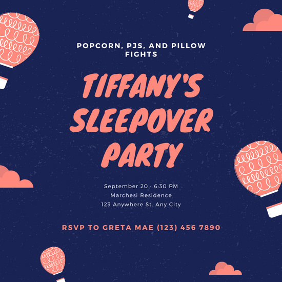 Blue Hot Air Balloon Sleepover Party Invitation
