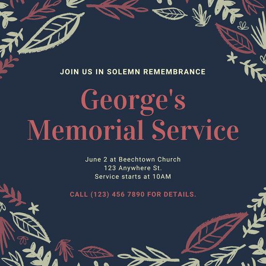 Black and Maroon Leaves Memorial Invitation