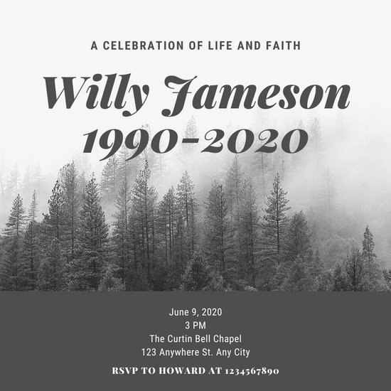 Black and White Pine Tree Landscape Memorial Invitation