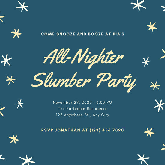 Blue Yellow Sparkle Sleepover Invitation
