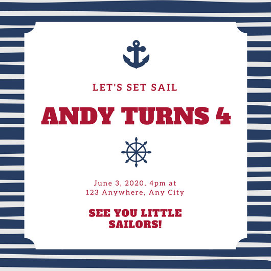 Navy Blue Stripe Anchor Nautical Invitation Templates by Canva