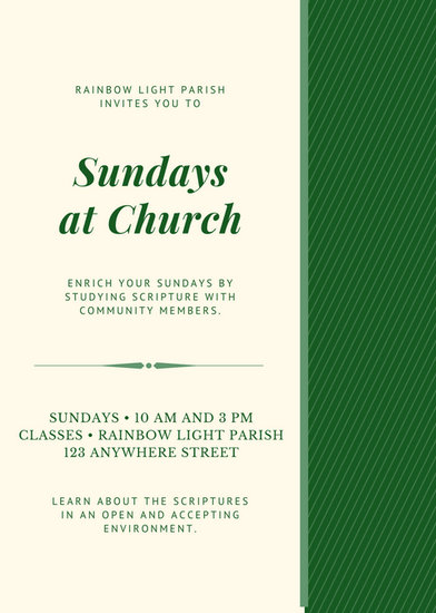 Emerald Green And Cream Sunday School Church Flyer  Templates By Canva