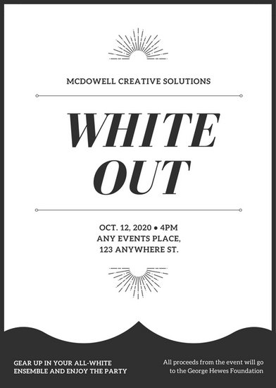 Black And White All White Party Flyer  Templates By Canva
