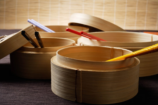 Bamboo Steamers with Chopsticks