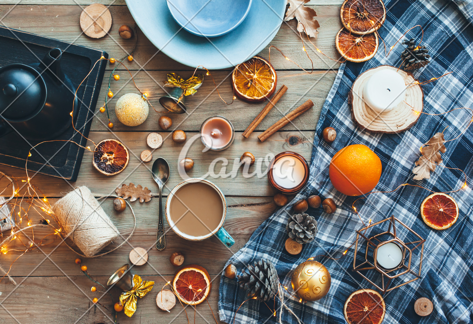 Flat Lay Of Winter Or Autumn Home Decor