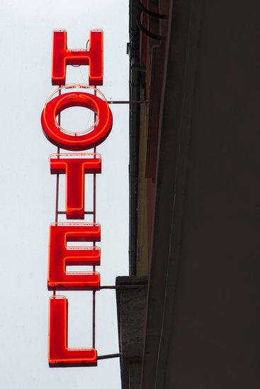Illuminated Red Text Hotel