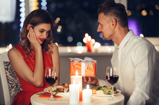 Pretty Couple Have Romantic Dinner