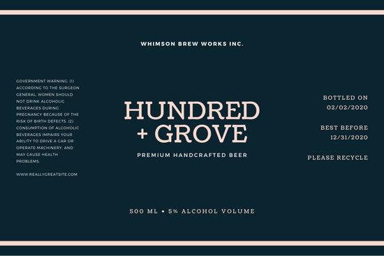Blue Grid Background Industrial Beer Label