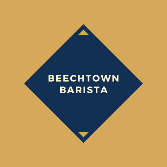 Brown and Navy Geometric Coffee Shop Logo
