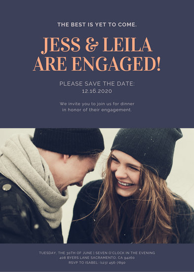 Dark Purple Couple Engagement Announcement