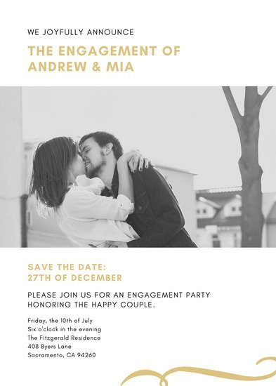 Yellow Couple Photo Engagement Announcement