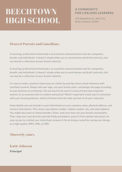 Brown and Beige Simple Welcome Letter to Parents School Letters