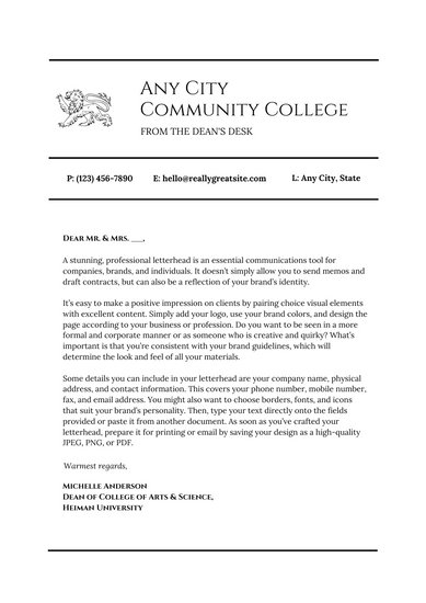 Black White Simple Welcome Letter to Students