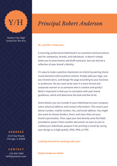 Orange Diamond Pattern Welcome Letter to Parents School Letter
