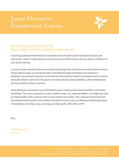 White and Yellow Welcome Letter to Students School Letter