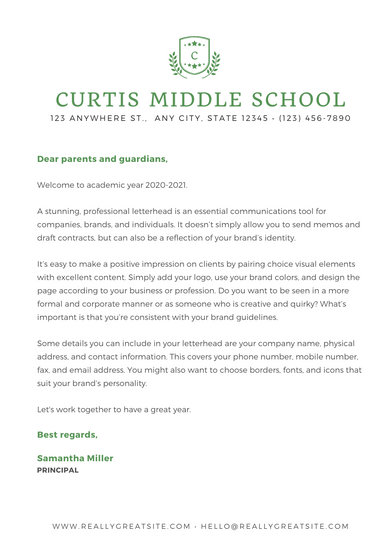 White Formal Welcome Letter to Parents School Letter