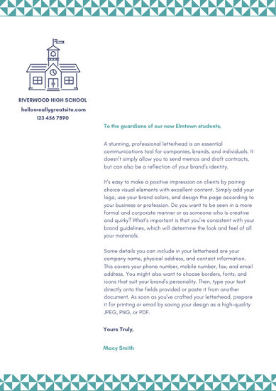 Blue Pattern and Icon Welcome Letter to Parents School Letter