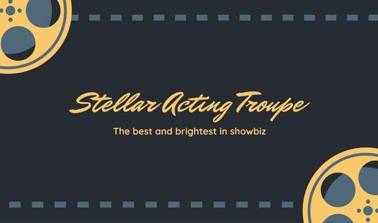 Blue Film Reel Actor Business Card