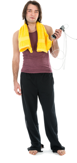 Young Man in Sports Wear with Skipping Rope