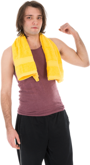 Man in Sports Wear Showing His Muscles, Isolated on White