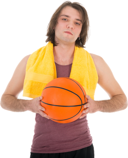 Man in Sports Wear with Basketball, Isolated on White