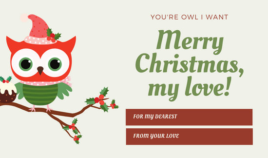 Red and Green Owl Christmas Tag