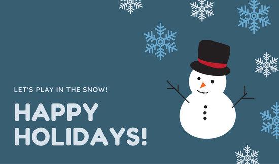 Teal Snow Man and Snow Flakes Christmas Tag