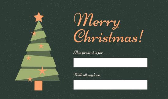 Blue Tree Christmas Tag