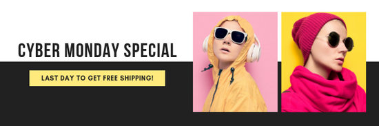 Yellow Cyber Monday Coupon Email Header