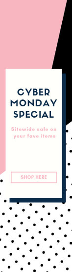 Dark Blue and Pink Cyber Monday Coupon Wide Skyscraper