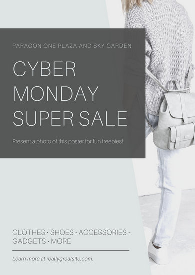 Grey Cyber Monday Coupon Poster